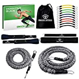 SMASH SPEED 80 Lb Strength Set of 2 - Resistance Exercise Running Bungee Bands (Waist) - 4 and 8 Ft with a Workout Guide - Agility, Fitness Gym, Football, Basketball Training Equipment for Athletes