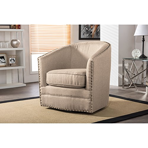 Swivel Accent Chairs - Wholesale Interiors Porter Classic Retro Fabric Upholstered Swivel Tub Chair, Beige
