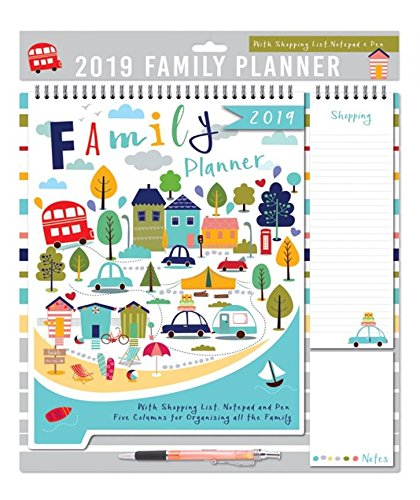 2019 family organiser calendar memo pad pen shopping list