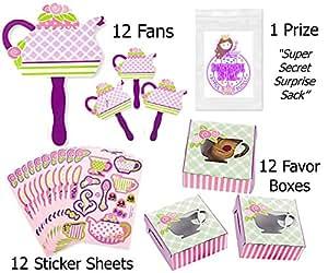 36 Pc Tea Party Favor Pack (12 Girl Tea Party Fans, 12 Tea Party Sticker Sheets, 12 Tea Party Favor Boxes)