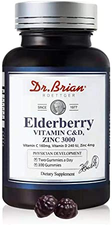 Dr.Brian Elderberry Vitamin C&D Zinc 3000,100 Gummies, Vitamin C 160mg Vitamin D3 240IU,Zinc 4mg for Child Kids Adults, Supplement for Structure and Support Maintenance of The Connective Tissue