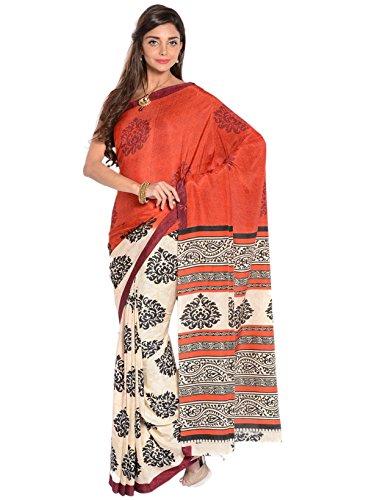 IndusDiva Women's Red and Cream Half and Half Crepe Saree