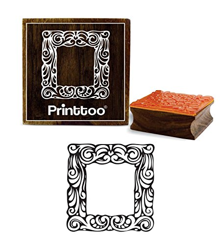 er Frame Pattern Wooden Rubber Stamp Scrap-booking Brown Block-2 x 2 Inches (Frame Rubber Stamp)