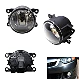 iJDMTOY A Pair Driver Passenger Sides Fog Light Lamps with H11 Halogen Bulbs For Acura Honda Ford Nissan Subaru Suzuki, etc