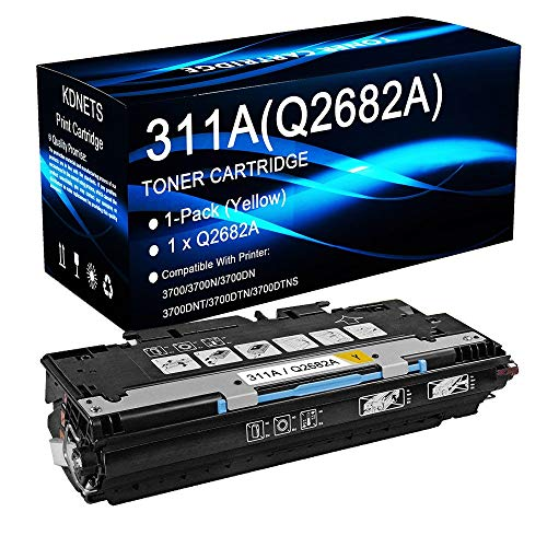 1-Pack (Yellow, High Yield) Compatible 311A Q2682A Laser Toner Cartridge Use for HP Color Laserjet 3700DNT 3700DTN 3700DTNS Printer, by KDNETS