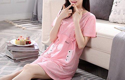 Donna notte RESPEEDIME Maniche Camicia corte da Pink aowq87