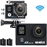 WiMiUS Action Camera 4K 16MP Dual Screen 131 Feet Underwater Camcorders WiFi Bicycle Helmet Cameras 2 Pcs Rechargeable Batteries Waterproof Case with Kit of Accessoriess, Black