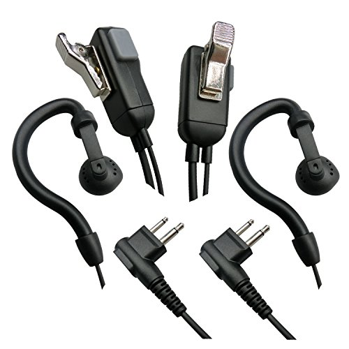 Cyen G Shape Earhook Two Way Radio Earpiece with PTT Microphone for 2 Pin Motorola Walkie Talkie Earphone(Pair) -  yu cheng, YC03M1