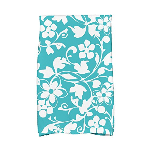 E by design HTF835BL2 Evelyn Floral Print Hand Towels 16 x 25 Aqua