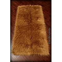 Fur Accents Sheepkin Area Rug Collection / Gold Camel Brown Faux Fur Rectangle / Carpet Runner 2x8