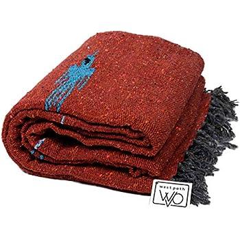 "Mexican Blanket Alpine Falsa in /"" RUST BROWN /"" Super Heavyweight Throw 81 X 58"