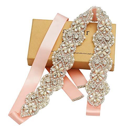 Yanstar Wedding Bridal Belts In Silver Rhinestone Crystal Pearl With Blush Sash For Wedding Dress Prom Gown-17.7In1.6 (Wedding Gown Belt)