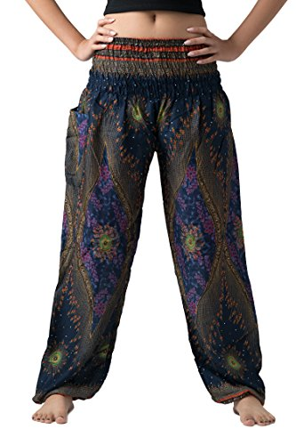 Hippies Outfits (Bangkokpants Women's Boho Pants Hippie Clothes Yoga Outfits Peacock Design One Size Fits (Blue))