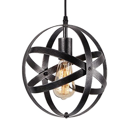 - Eumyviv P0013 1-Light Spherical Displays Changeable Industrial Pendant Ceiling Light Edison Vintage Decorative Hanging Lighting Fixtures Lighting Luminaire