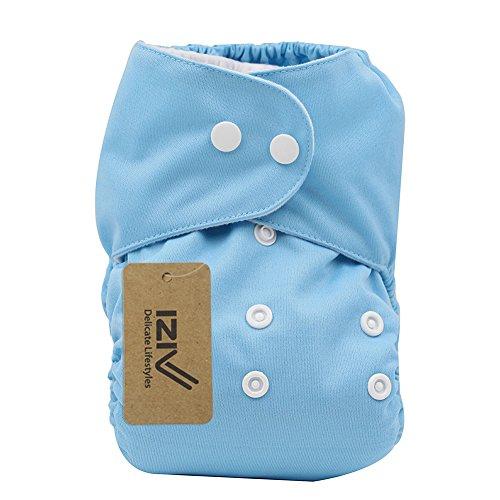iZiv(TM) Recién Nacido Orgánico con 1 Inserte Grueso Infantil Impermeable/Ajustable/Reutilizable/Lavable Pañal de Tela de Bolsillo aptos Bebés 0-3 años(Naranja) Cielo Azul