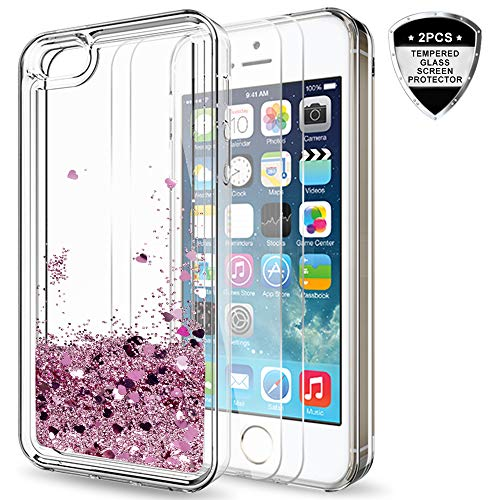 - iPhone 5S Case, iPhone SE/SE 2 Case for Girls Women, LeYi Cute Shiny Glitter Liquid Clear TPU Protective Case for iPhone 5 ZX Rose Gold