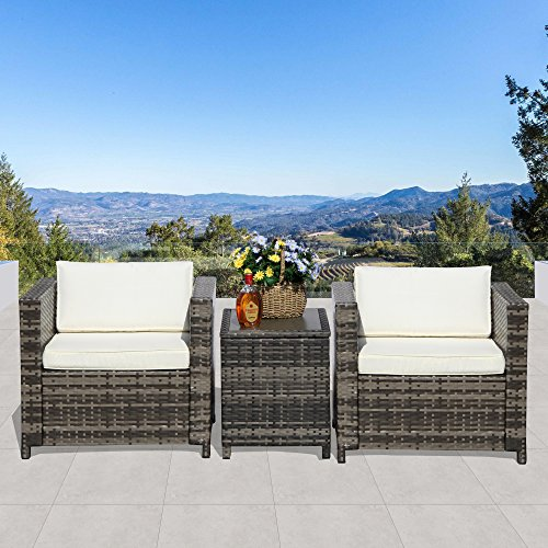 Super Patio Patio Furnituire Set,All-Weather Grey Wicker Furniture Set Sofas with Ottoman, Aluminium Cover Coffee Table,White Cushions (3 piece-Aluminium Cover Coffee (White Wicker Ottoman)