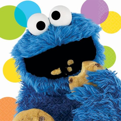 Sesame Street Birthday Party Supplies (Dots Cookie Monster Luncheon Napkins) (Sesame Street Party Big Bird Lunch Napkins)