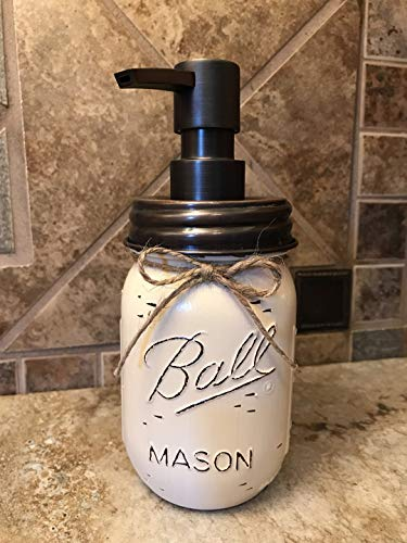Soap Dispenser Mason Canning JAR Hand PAINTED & Distressed Ball Pint ~ OIL RUBBED BRONZE ~ Kitchen, Bathroom, Lotion ~Gray Grey Seafoam Light Blue Turquoise Pewter White Cream Tan Brown Yellow ()