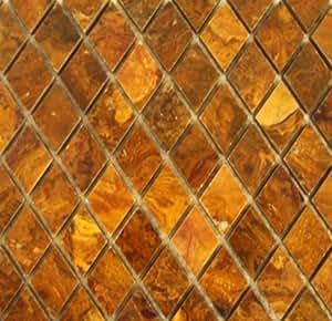Diamond Shape Multi Brown Gold Onyx Polished Mosaics