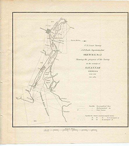 Savannah Georgia River Entrance 1850 Preliminary Sketch US Coast Survey Map