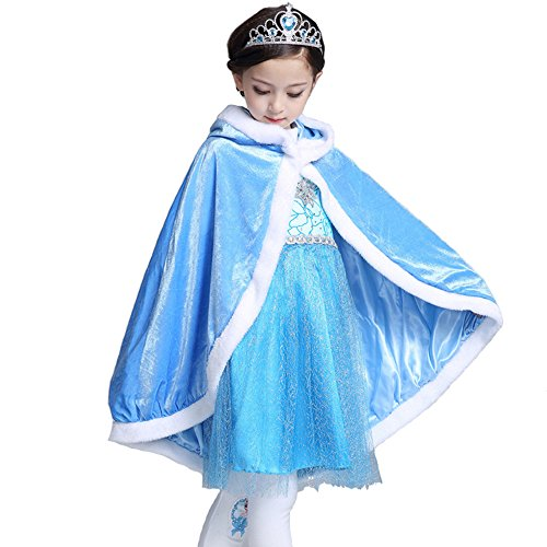 Halloween Show Hooded Cape Cloak Costume, Elsa/Sophia Princess Cloak, Girls Birthday Party Autumn Dress-up Winter Warm Cloak Coat Cape (Blue, M) ()