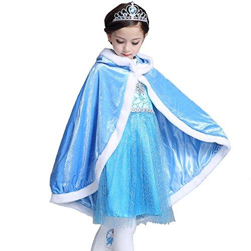 Dress Up Jesus - Halloween Show Hooded Cape Cloak Costume, Elsa/Sophia Princess Cloak, Girls Birthday Party Autumn Dress-up Winter Warm Cloak Coat Cape (Blue, M)