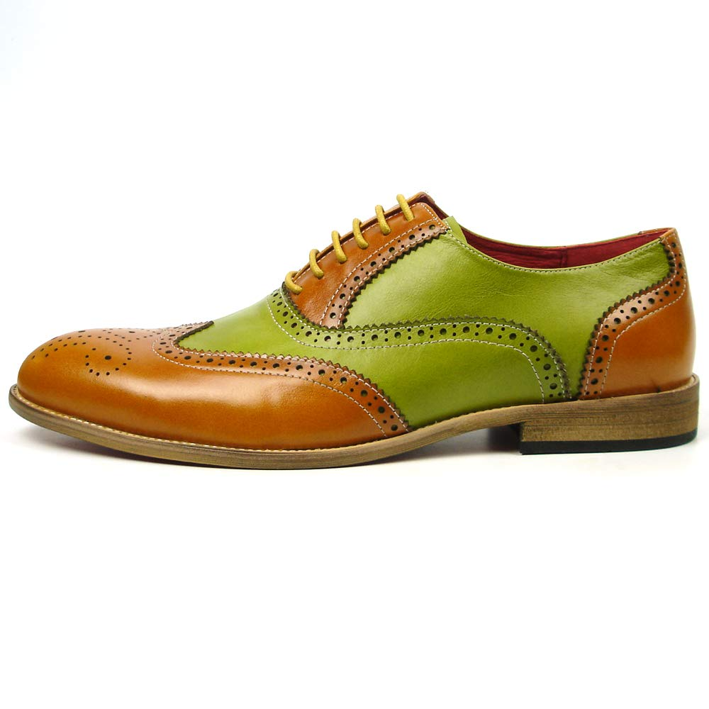 Fiesso by Aurelio Garcia FI-7400 Genuine Two Tone Leather Yellow Green Wing tip Lace up European Shoe Designs