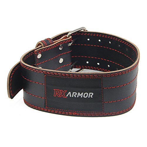 RxArmor Weight Lifting Belt/4 Inch Wide Genuine Leather/Adjustable Buckle Available in 4 Sizes/Helps Support Lower Back For Power Lifting and Weight Lifting (Small)