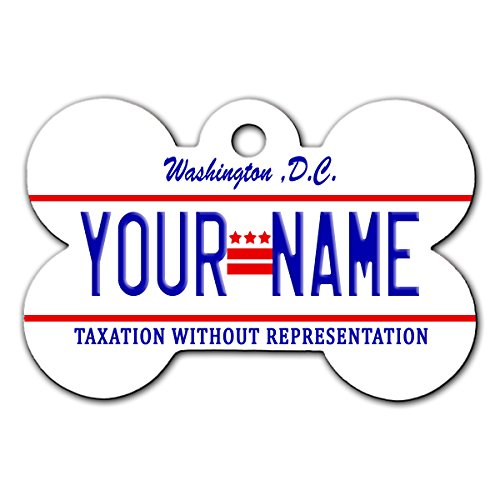 BleuReign(TM) Personalized Custom Name Washington DC State License Plate Bone Shaped Metal Pet ID Tag with Contact Information