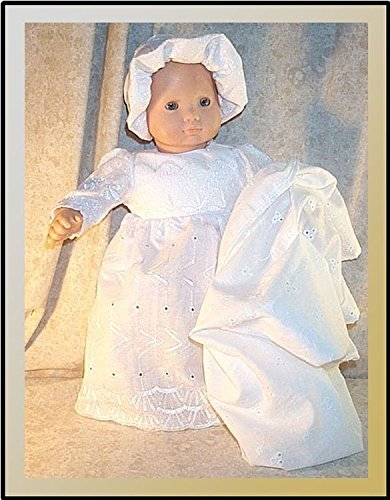 Doll Clothes Baby Christening fit American Girl Bitty 15 inch 3 pieces Gown Hat Blanket