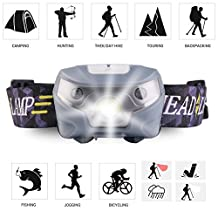 Headlamp Super Bright LED Waterproof Head Lights 3 Modes Outdoor Rechargeable Sport Flashlight Cycling Safety Reflectors for Camping, Running, Hiking, Reading by YJHW (gray)
