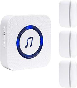 SanJie Wireless Door Open Chime Entrance Entry Alert Kit for Business Home Store 1 Receiver 3 Magnetic Door Window Sensor Entrance Alert Chime 55 Ringtones 5 Volume Level …