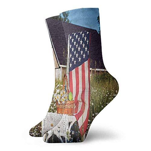 New Short Socks Americana,Green Apples Daisies USA 3.4
