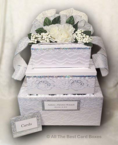 Amazon Com Card Box With Lock Wedding Card Box White Card Holder