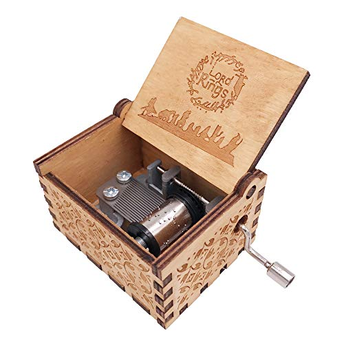 The Lord of The Rings Music Box Hand Crank Musical Box Carved Wooden,Play Lord of The Rings,Brown