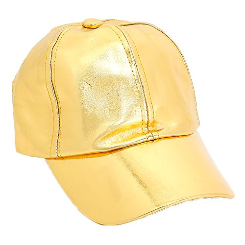 Women's Solid Faux Leather Velcro Closure Adjustable Baseball Cap - Solid Gold Rims