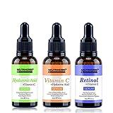 herbal skin vitamin c serum NEUTRIHERBS 3 PCS Natural Face Serum Kit, Contains Vitamin C Serum for Whitening, Hyaluronic Acid Serum for Anti Aging, Retinol Serum (Vitamin A) for Acne removal 30ml/pc