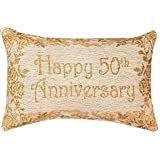 Manual 12.5 x 8.5-Inch Decorative Throw Pillow Reversible Word Pillow, Golden 50th Anniversary