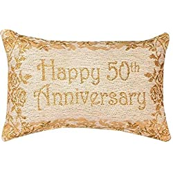 Decorative Throw Pillow Reversible Word Pillow, Golden 50th Anniversary