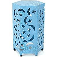 Carusa Indoor 12 Inch Crackle Blue Iron Moon and Stars Side Table