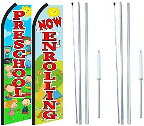 Now Enrolling Preschool King Swooper Flag Sign with Complete Hybrid Pole Set Pack of 2