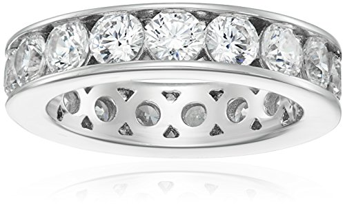 Platinum-Plated Sterling Silver Swarovski Zirconia Channel Set All-Around Band Ring (3 cttw), Size 5