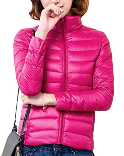 Jacket today Rose Collar Womens Down Long Stand Puffer UK Red Sleeve Short zwzrS