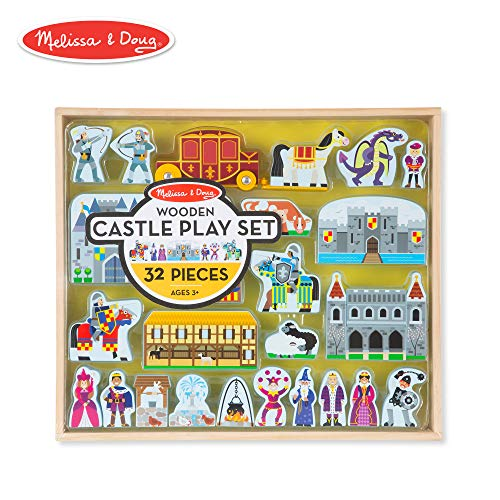 Melissa & Doug Wooden Castle and Kingdom Play Set (32 Blocks) - Castle Figure Set Wooden