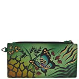 Anna By Anuschka, Handpainted Leather Organizer Wallet, Animal Butterfly Green Credit Card Holder, Ang-G -Animal Butterfly Green, One Size