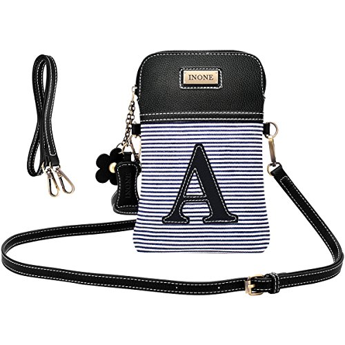 (inOne Crossbody Bag Cell Phone Purse - Women PU Leather Handbag with Black and White Stripe Canvas Adjustable Straps - Monogram - Letter A)