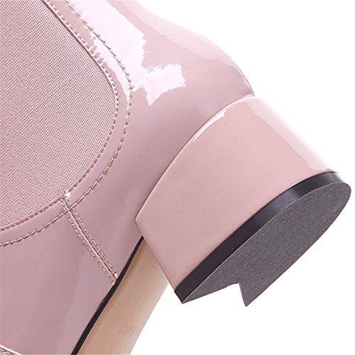 Nove Di Caviglia Tacco Rosa Punta Donne Fatti Fibbia Mucca Stivali Eleganti Quadrata Mano Grosso A Dressy Cuoio Sette Perle Ztngx7