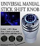 2002 acura rsx shift knob - ICBEAMER Racing Manual Stick Shift Knob with Blue LED Light Top-Glow Series Aluminum Sleek Smooth Silver