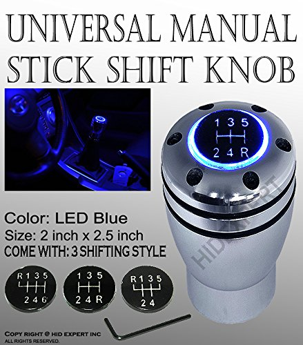 ICBEAMER Racing Manual Stick Shift Knob with Blue LED Light Top-Glow Series Aluminum Sleek Smooth Silver Saab Gear Knob
